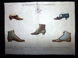 Le Moniteur de la Cordonnerie 1892 Rare Hand Colored Shoe Design Print 64
